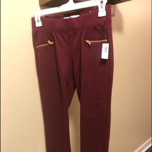 Old Navy Red Leggings with Gold Zippers